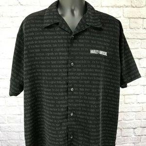 Harley Davidson Embroidered Black Button Up Shirt